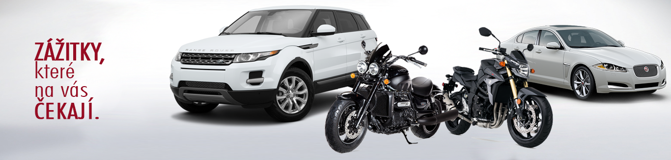 Zážitky z jízdy vozidly Jaguar a Land Rover, Range Rover a motocykly Suzuki a Triumph.